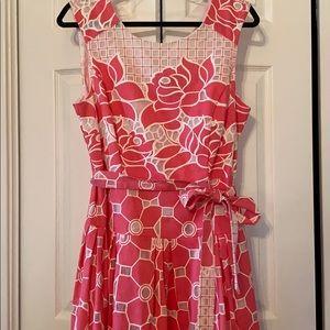 Adorable peach-pink floral dress, size 12